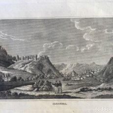 Arte: GRABADO ANTIGUO ORIGINAL. ALHAMBRA / GRANADA (ESPAÑA). VISTA DESDE EL SACROMONTE. AÑO 1840. Lote 212703260