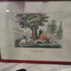 Arte: GRABADO COLOREADO A MANO SIGLO XIX, INGLÉS ROD FISHING, ESCENA DE PESCA. Lote 212793418