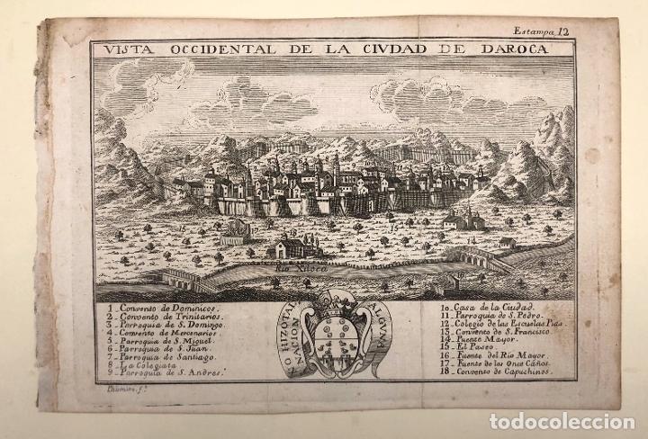 Arte: VISTA OCCIDENTAL DE LA CIUDAD DE DAROCA. ZARAGOZA. EXTRAIDO DEL ATLANTE ESPAÑOL. AÑO 1784 - Foto 2 - 213074015