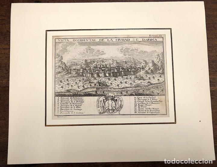 VISTA OCCIDENTAL DE LA CIUDAD DE DAROCA. ZARAGOZA. EXTRAIDO DEL ATLANTE ESPAÑOL. AÑO 1784 (Arte - Grabados - Antiguos hasta el siglo XVIII)
