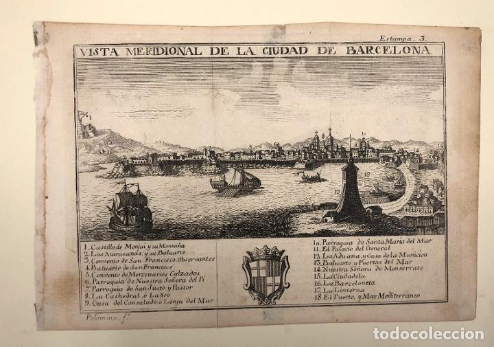 Arte: VISTA MERIDIONAL DE LA CIUDAD DE BARCELONA. EXTRAIDO DEL ATLANTE ESPAÑOL. AÑO 1784 - Foto 2 - 213074135