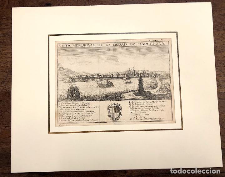 VISTA MERIDIONAL DE LA CIUDAD DE BARCELONA. EXTRAIDO DEL ATLANTE ESPAÑOL. AÑO 1784 (Arte - Grabados - Antiguos hasta el siglo XVIII)