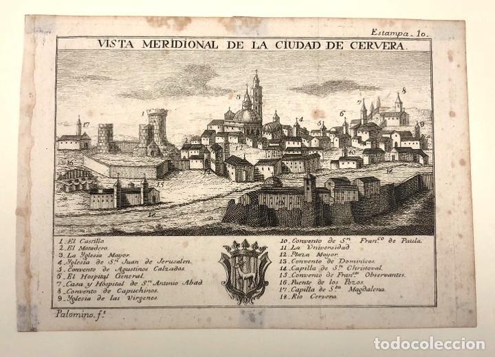 Arte: VISTA MERIDIONAL DE LA CIUDAD DE CERVERA. LLEIDA. EXTRAIDO DEL ATLANTE ESPAÑOL. AÑO 1784 - Foto 2 - 213074202