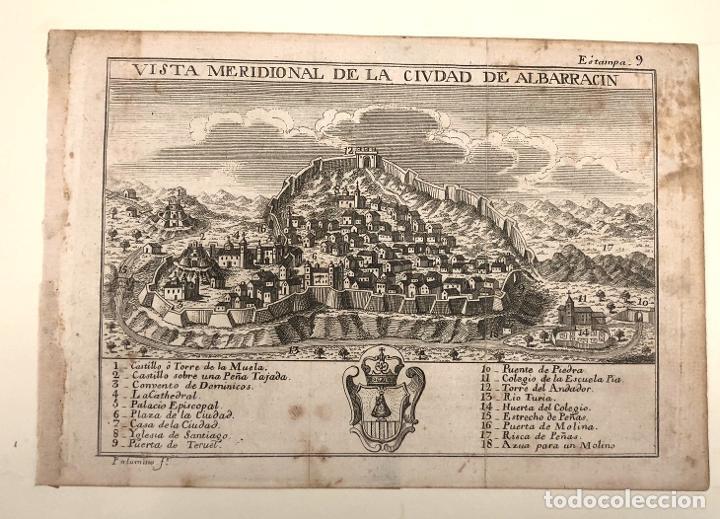 Arte: VISTA MERIDIONAL DE LA CIUDAD DE ALBARRACIN. TERUEL. EXTRAIDO DEL ATLANTE ESPAÑOL. AÑO 1784 - Foto 2 - 213074285