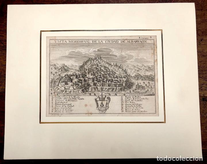 VISTA MERIDIONAL DE LA CIUDAD DE ALBARRACIN. TERUEL. EXTRAIDO DEL ATLANTE ESPAÑOL. AÑO 1784 (Arte - Grabados - Antiguos hasta el siglo XVIII)