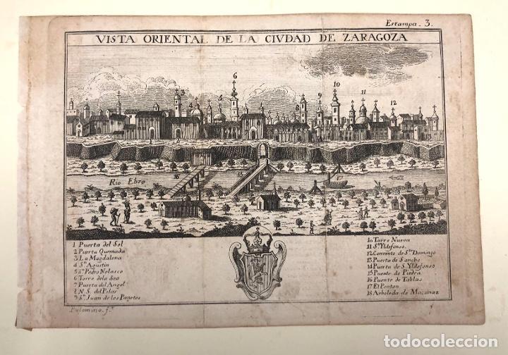 Arte: VISTA ORIENTAL DE LA CIUDAD DE ZARAGOZA. EXTRAIDO DEL ATLANTE ESPAÑOL. AÑO 1784 - Foto 2 - 213074700