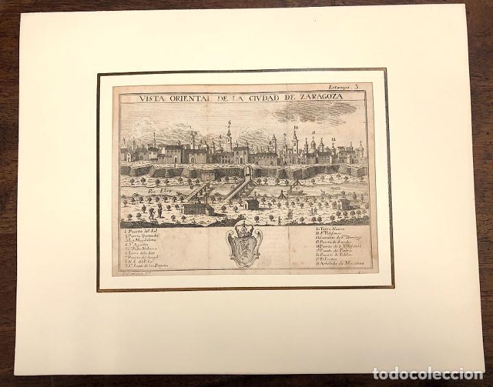 VISTA ORIENTAL DE LA CIUDAD DE ZARAGOZA. EXTRAIDO DEL ATLANTE ESPAÑOL. AÑO 1784 (Arte - Grabados - Antiguos hasta el siglo XVIII)