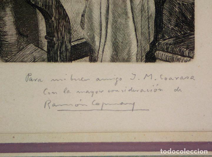 Arte: Ramon de Capmany, grabado, científico, firmado y dedicado, con marco. 25x18,5cm - Foto 2 - 213221911
