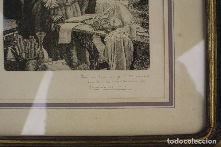 Arte: Ramon de Capmany, grabado, científico, firmado y dedicado, con marco. 25x18,5cm - Foto 3 - 213221911