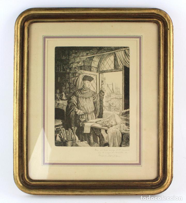 RAMON DE CAPMANY, GRABADO, CIENTÍFICO, FIRMADO Y DEDICADO, CON MARCO. 25X18,5CM (Arte - Grabados - Contemporáneos siglo XX)