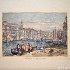 Arte: VISTA COLOREADA DE VENEZIA O VENECIA ,CANAL GRANDE POR CHARDON PARIS.. Lote 213311590