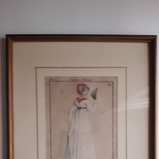 Arte: GRABABADO A BURIL ILUMINADO A MANO DE MODA FRANCÉS. EPOCA DIRECTORIO FINALES SIGLO XVIII PP. XIX. OR. Lote 213479545