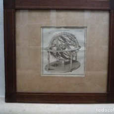 Arte: GRABADO A BURIL DEL SIGLO XVIII DE UNA ESFERA ARMILAR CON MARCO DE CAOBA. Lote 213493425