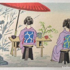 Arte: EXCELENTE GRABADO JAPONÉS ORIGINAL A MADERA, XILOGRAFÍA, GEISHAS TOMANDO TÉ, MUY BUEN ESTADO. Lote 213531653