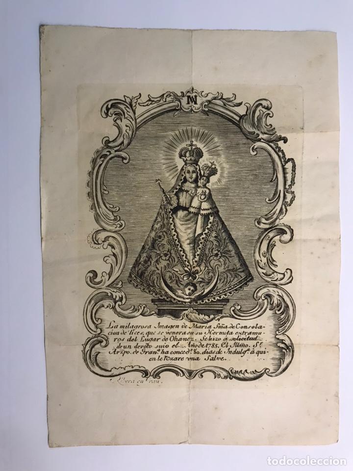 Arte: Grabado S. XVIII. La Milagrosa Imagen de María Stma. de Consolación que se venera en Ohanes, Almeria - Foto 2 - 213579402