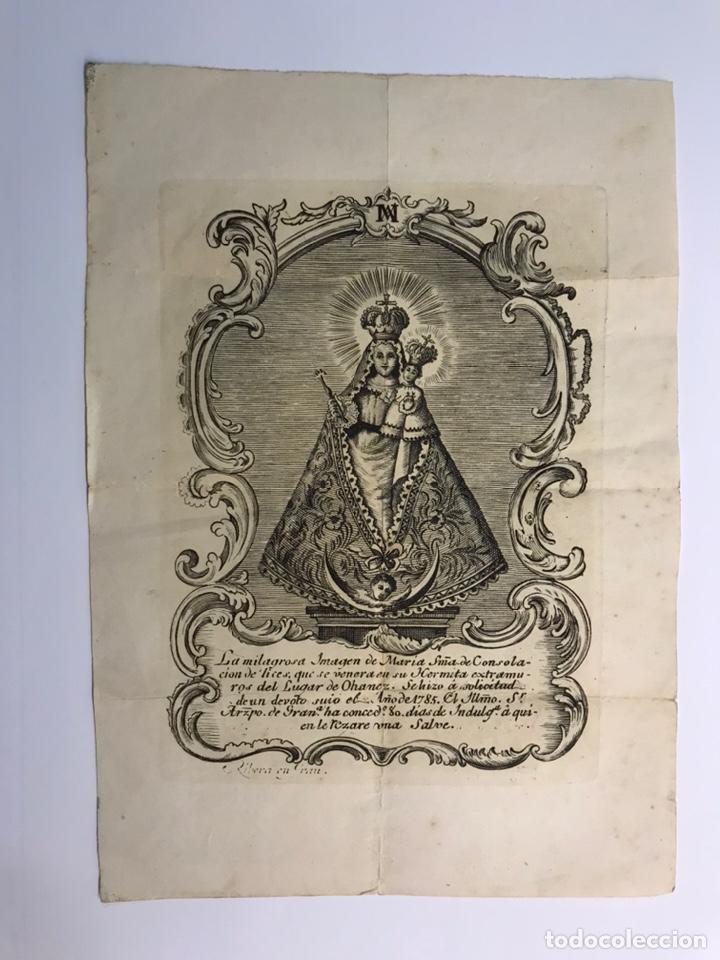 GRABADO S. XVIII. LA MILAGROSA IMAGEN DE MARÍA STMA. DE CONSOLACIÓN QUE SE VENERA EN OHANES, ALMERIA (Arte - Grabados - Antiguos hasta el siglo XVIII)