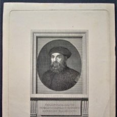 Arte: GRABADO SIGLO XVIII,RETRATO DE MAGALLANES POR FERNANDO SELMA. REINO UNIDO COLECCIÓN ROYAL MUSEUM.. Lote 213598877