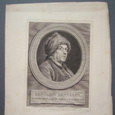 Arte: GRABADO DEL RETRATO DE BENJAMIN FRANKLIN 1777,SIGLO XVIII. Lote 213636377