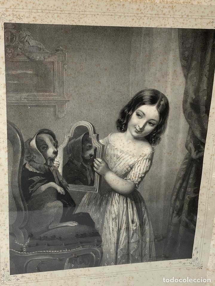 Arte: C-987. GRABADO LA TOILETTE DU CHIEN. FINCK PINCX. IMP.LEMERCIER, PARIS.REGNIER.S.XIX. - Foto 2 - 213686317