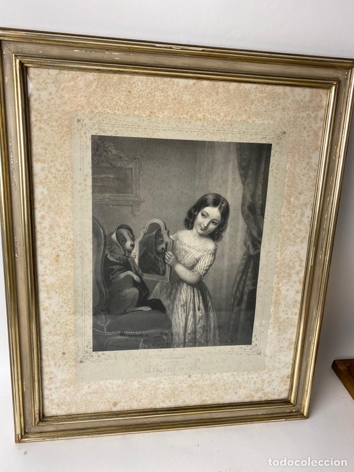 C-987. GRABADO LA TOILETTE DU CHIEN. FINCK PINCX. IMP.LEMERCIER, PARIS.REGNIER.S.XIX. (Arte - Grabados - Modernos siglo XIX)