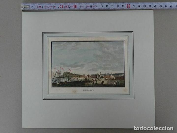 Arte: Vista del puerto y ciudad de Barcelona (Cataluña, España), 1834. Anónimo - Foto 2 - 213702633