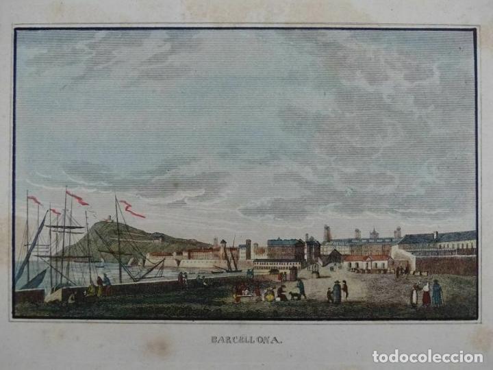 Arte: Vista del puerto y ciudad de Barcelona (Cataluña, España), 1834. Anónimo - Foto 3 - 213702633
