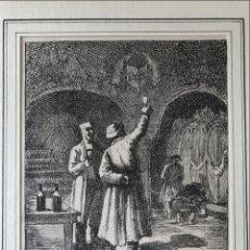 Arte: PROBANDO VINO EN LA BODEGA, 1877. ALPH. LEVY. Lote 213867668