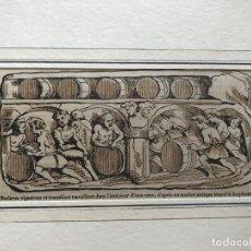 Arte: ESCLAVOS TRABAJANDO EN UNA BODEGA DE VINO ROMANA, 1855. ANÓNIMO. Lote 213873356