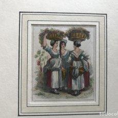 Arte: ESCENA A COLOR DE VENDIMIA (Y III), 1844. ANÓNIMO. Lote 213875380