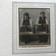 Arte: COLOCANDO ALAMBRE A LOS TAPONES DE LA BOTELLAS DE CHAMPÁN, HACIA 1850. ANÓNIMO. Lote 213900170