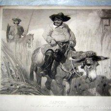 Arte: EXCELENTE GRABADO DE SANCHO PANZA Y D. QUIJOTE, DE, Z PREVOTS. Lote 214305643