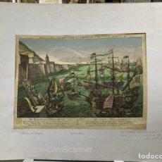 Arte: GRABADO DE LA BATALLA-ASEDIO DE GIBRALTAR DE 1782 ENTRE ESPAÑA, FRANCIA Y AUSTRIA. VER FOTOS. Lote 214337737