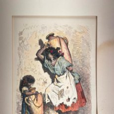Arte: GRABADO ORIGINAL DE GUSTAVE DORÉ DE 1875 - PINTADO A MANO - VALENCIA - YOUNG VALENCIANS. Lote 215271730
