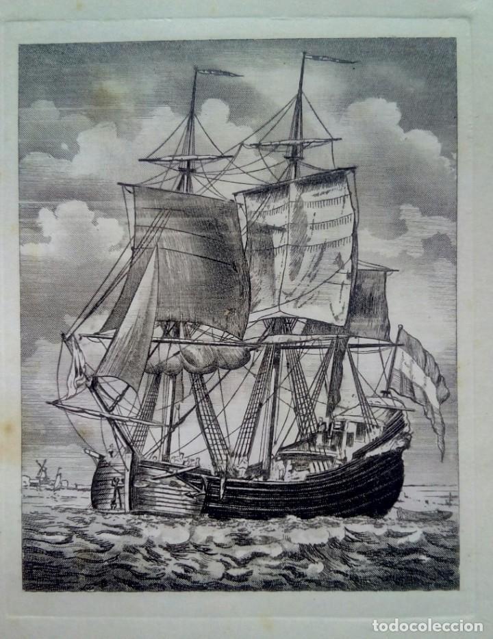 Arte: Grabado enmarcado tarjeta Navideña de Luis Carrero Blanco - Foto 3 - 216688250