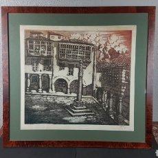 Arte: GRABADO DE MANUEL CASTRO GIL DE LA PLAZA DE LA LEÑA EN PONTEVEDRA. MED. SIN MARCO 55 X 50 CM.. Lote 216929060