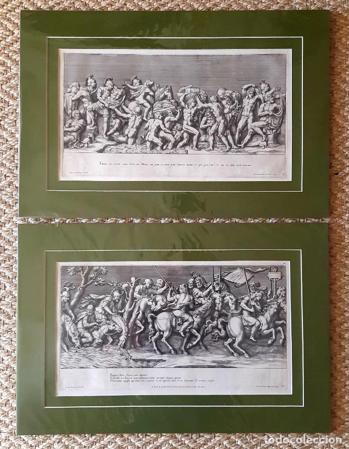 2 GRABADOS ITALIANOS DEL SIGLO XVIII. ESCENAS CLÁSICAS (Arte - Grabados - Antiguos hasta el siglo XVIII)