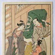 Arte: EXCELENTE GRABADO ORIGINAL JAPONES DEL SIGLO XIX DEL MAESTRO KATSUKAWA SHUNCHO, BUEN ESTADO. Lote 210219858