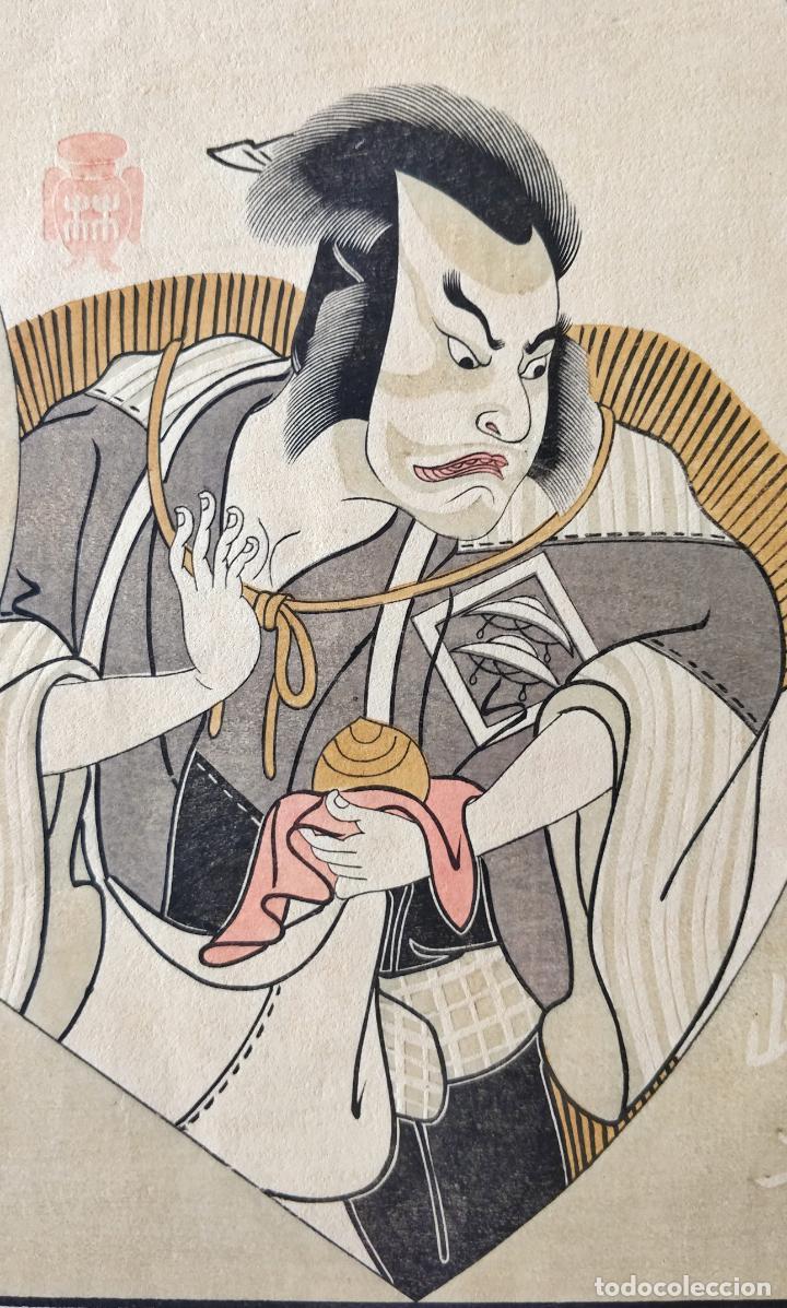 EXCELENTE GRABADO ORIGINAL JAPONES DEL SIGLO XIX DEL MAESTRO KATSUKAWA SHUNCHO, BUEN ESTADO, KABUKI (Arte - Grabados - Modernos siglo XIX)