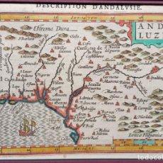 Arte: MAPA ANDALUCIA - ORIGINAL SIGLO XVII - ILUMINADO ANDALVZIA CONTINENS SEVILLAM ET CORDVBAM 180X150. Lote 217220520