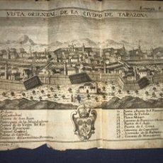 Arte: VISTA ORIENTAL DE LA CIUDAD DE TARAZONA (ZARAGOZA). GRABADO POR PALOMINO. 1779. ORIGINAL.. Lote 217474873