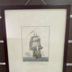 Arte: GRABADO NAVÍO DE LÍNEA ESPAÑOL.DIBUJO DE BERLINGUERO Y GRABADO DE RODRÍGUEZ Y GASCÓ.. Lote 217684598