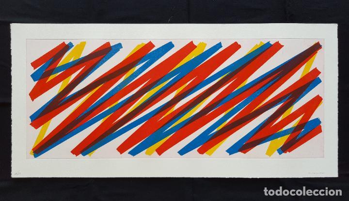 GRAN GRABADO 51X108 CM DE JOAQUIM CHANCHO FIRMADO Y NUMERADO 16/21. TEORIA DE LAS SEÑALES. (Arte - Grabados - Contemporáneos siglo XX)