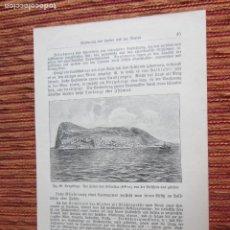 Arte: 1890-GRABADO ORIGINAL. VISTA DE GIBRALTAR. Lote 218194003