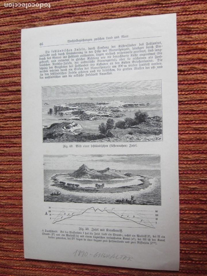 Arte: 1890-GRABADO ORIGINAL. VISTA DE GIBRALTAR - Foto 3 - 218194003