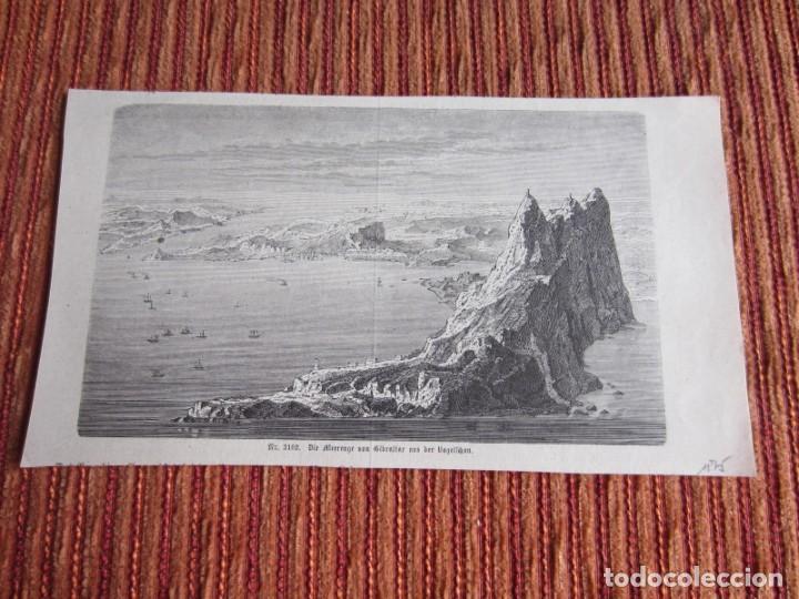 1875-GRABADO ORIGINAL. VISTA DE GIBRALTAR (Arte - Grabados - Modernos siglo XIX)