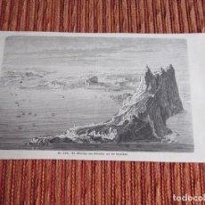 Arte: 1875-GRABADO ORIGINAL. VISTA DE GIBRALTAR. Lote 218196437