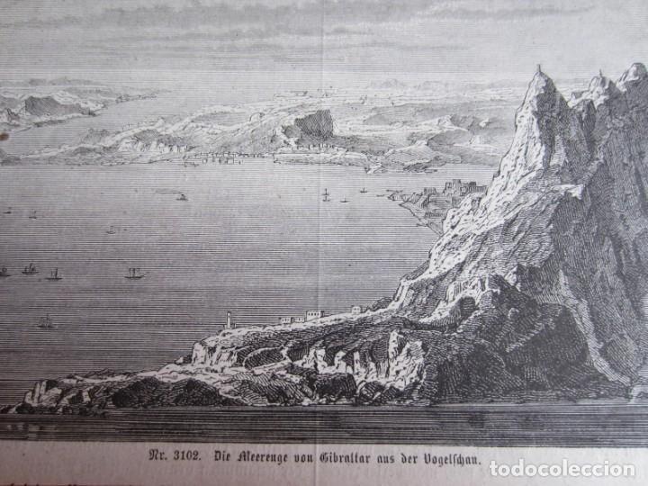 Arte: 1875-GRABADO ORIGINAL. VISTA DE GIBRALTAR - Foto 2 - 218196437