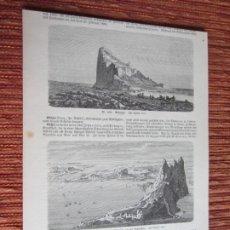 Arte: 1888-3 GRABADOS ORIGINALES. VISTAS DE GIBRALTAR. EDWARD GIBBON. Lote 218197425