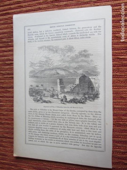 1888-GRABADO ORIGINAL. ALGECIRAS Y GIBRALTAR (Arte - Grabados - Modernos siglo XIX)