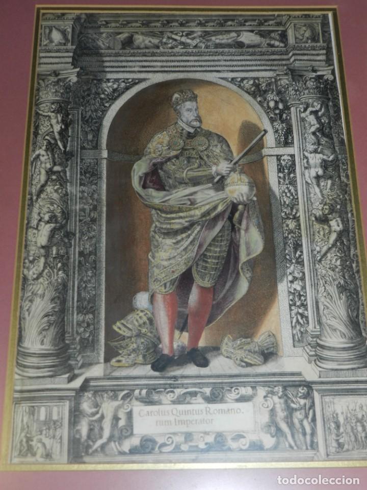 (M) ANTIGUO GRABADO COLOREADO A MANO S. XVI - XVII - MILITAR ESCRITO EN TINTA - CAROLUS QUINTUS ROMA (Arte - Grabados - Antiguos hasta el siglo XVIII)